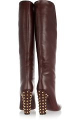 Gucci Studded Leather Knee Boots in Brown (burgundy) - Lyst