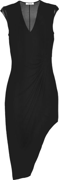 Helmut Lang Leather and Chiffon paneled Asymmetric Jersey Dress in Black - Lyst