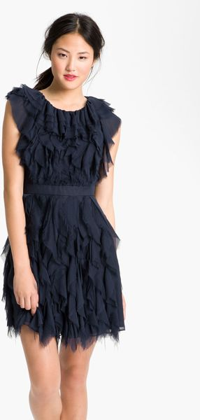 Jill Stuart Raw Edge Silk Chiffon Dress - Lyst
