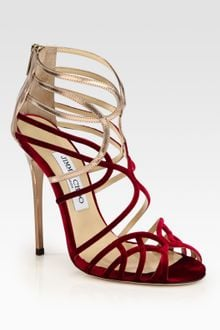 Jimmy Choo Maury Velvet Metallic Leather Sandals - Lyst