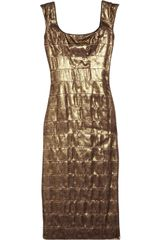 L'wren Scott Lace Covered Silk Blend Dress in Gold - Lyst
