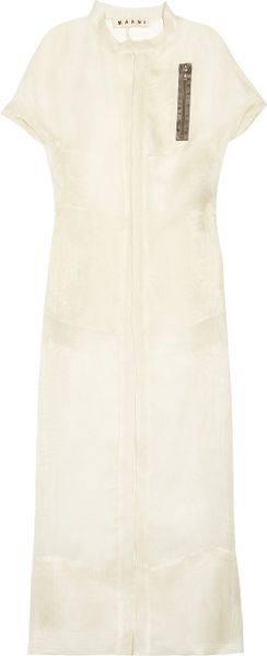 Marni Gauze Duster Coat in White