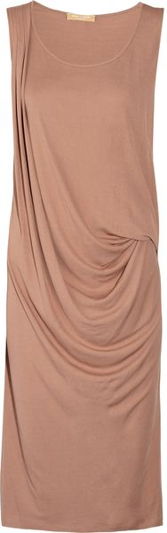 Michael Kors Draped Crepe Dress in Pink (blush) - Lyst