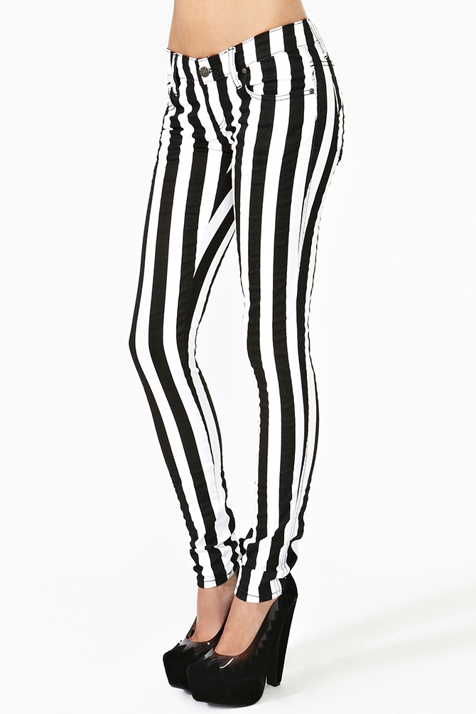 Nasty gal Striped Skinny Jeans in Black | Lyst