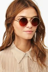 Nasty Gal Flip Side Shades Gold in Gold - Lyst