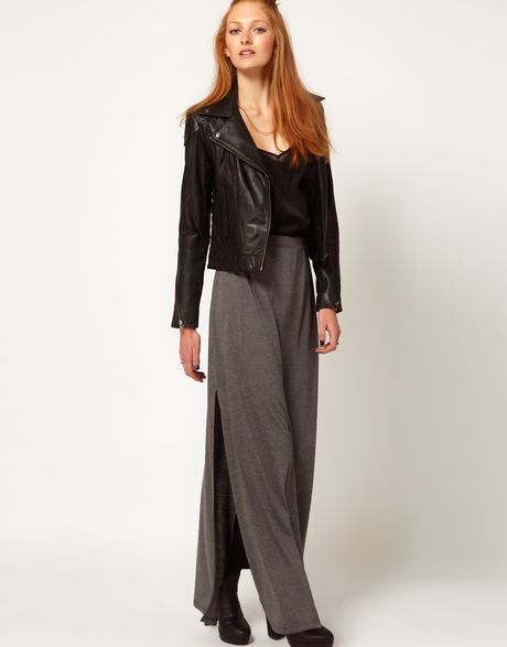 river island side split maxi skirt in gray grey lyst