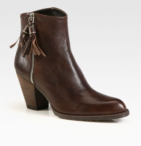 stuart weitzman prancing leather western ankle boots in