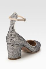 Valentino Crystalcoated Suede Ankle Strap Pumps in Silver - Lyst