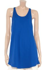Victoria Beckham Drape Back Crepe Tank in Blue (denim) - Lyst