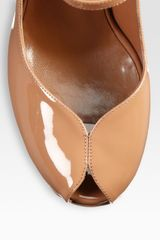 Yves Saint Laurent Ysl Tribute Patent Leather Platform Pumps in Brown (tan) - Lyst
