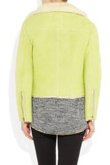 Acne Rita Shearling Biker Jacket in Yellow - Lyst