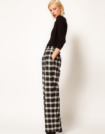 ASOS Collection Asos Wide Leg Trousers in Check - Lyst