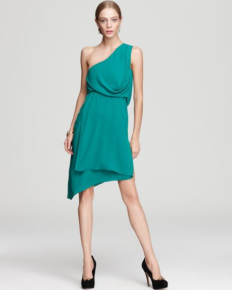 Bcbgmaxazria One Shoulder Dress Somara Asymmetric in Blue (ultra green)