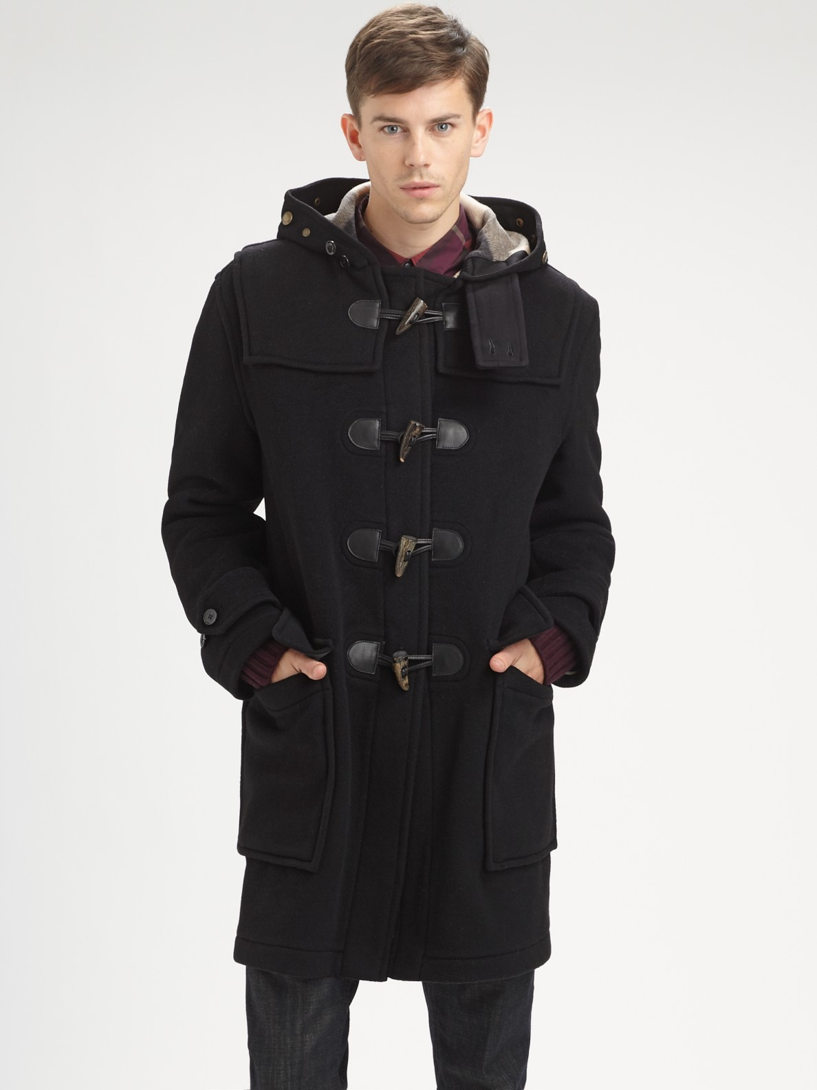 burberry brit duffle coat in black for men lyst. Black Bedroom Furniture Sets. Home Design Ideas
