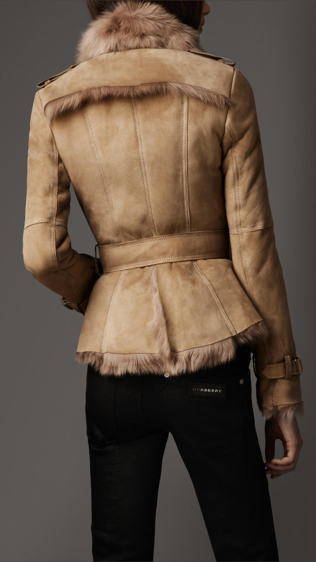 a777e765c1fd5e Lyst - Burberry Belted Shearling Jacket in Natural