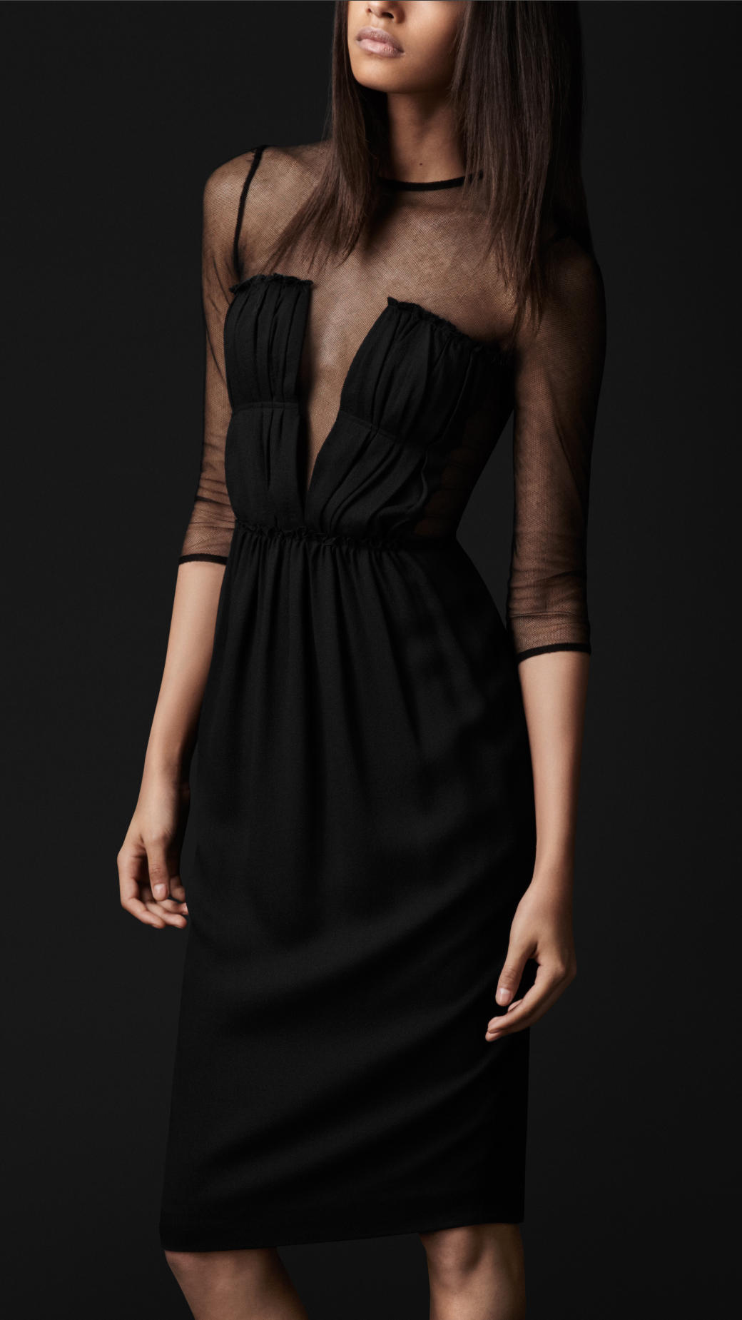 Lyst Burberry Prorsum Mesh Top Silk Dress In Black