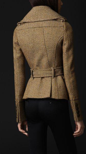 Burberry Prorsum Oversize Collar Wool Jacket In Brown