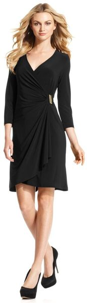 Calvin Klein Three Quarter Sleeve Faux Wrap in Black (gold)