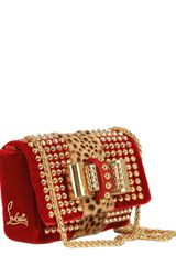 Christian Louboutin Sweety Charity Velvet Pony Spikes Clutch in Red - Lyst