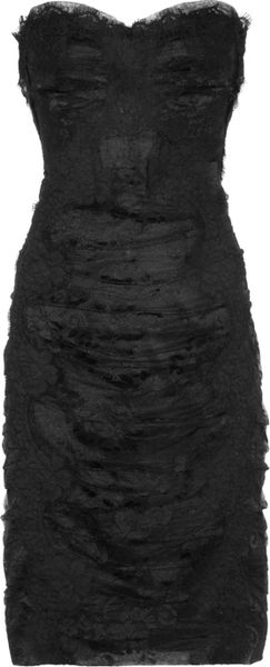 Dolce Amp Gabbana Strapless Lace And Tulle Dress In Black Lyst