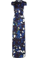 Erdem Aurelia Printed Silksatin Gown in Blue (multicolored) - Lyst