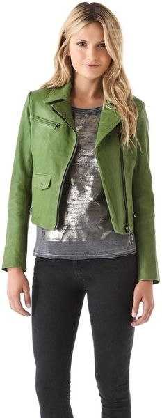 Kelly Wearstler Newton Leather Moto Jacket in Green