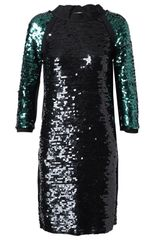 Lanvin Fabourg Appliquéd Sequin Dress in Black (black green) - Lyst