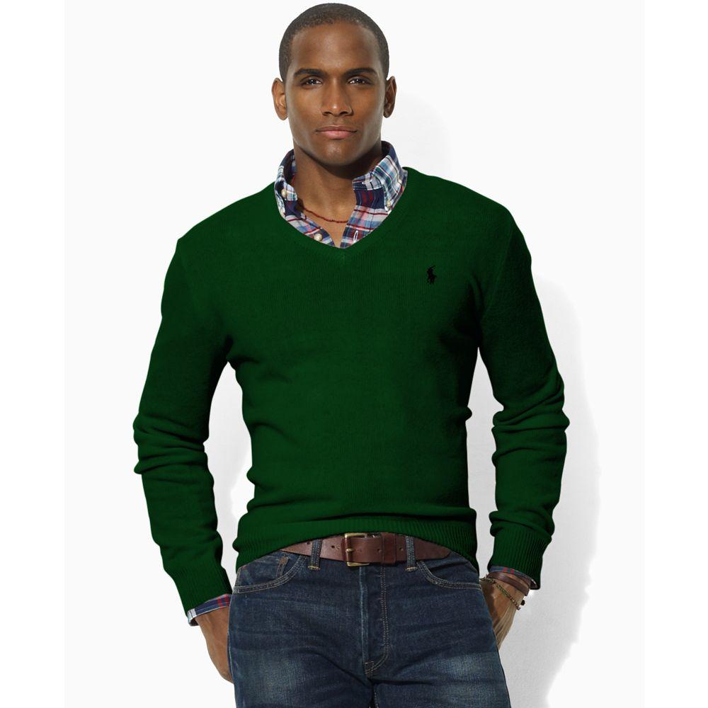 Lyst Ralph Lauren Lambswool V Neck Sweater In Green For Men