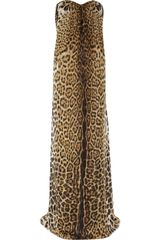 Yves Saint Laurent Leopard print Silk mousseline Strapless Gown