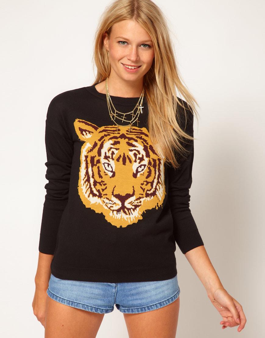 Lyst Asos Tiger Jumper In Black