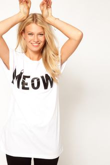 ASOS Collection Asos Tshirt with Meow Print - Lyst