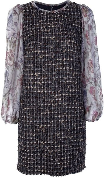 Dolce & Gabbana Tweed Dress in Multicolor (brown) - Lyst