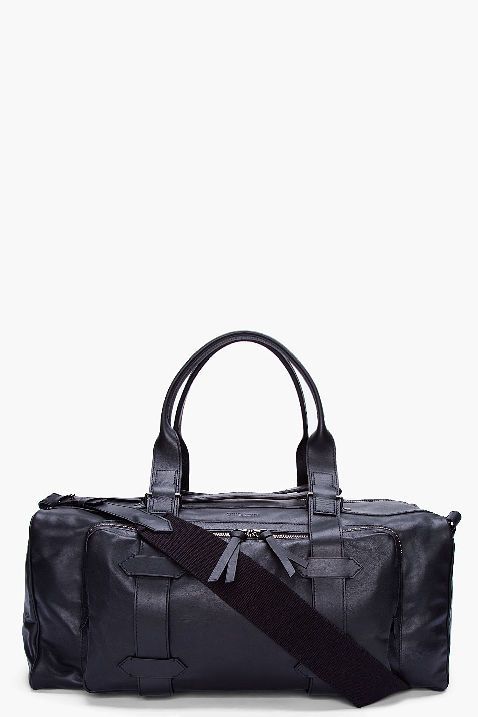 givenchy black leather carry all duffle bag in black for