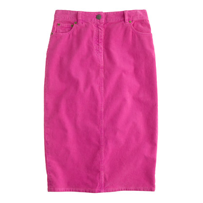 Jew Highwaisted Corduroy Pencil Skirt in Purple #2: jcrew neon fuchsia highwaisted corduroy pencil skirt product 1