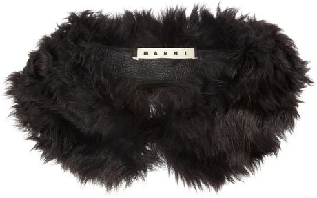 Marni Shearling Collar in Gray (charcoal) - Lyst