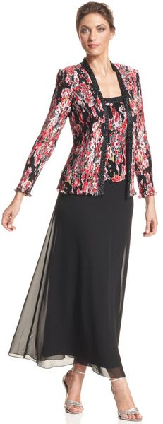 Patra Longsleeve Floralprint Beaded Gown in Black (floral) - Lyst