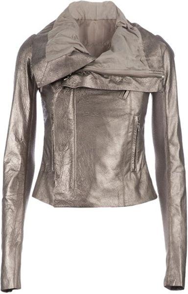 Rick Owens Biker Jacket in Silver - Lyst