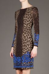 Versace Printed Dress in Animal (brown) - Lyst