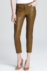 10 Crosby by Derek Lam Leather Pants Cropped Slim Fit - Lyst