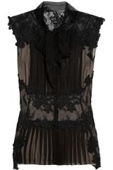 Alberta Ferretti Lace Paneled Silk Chiffon Top