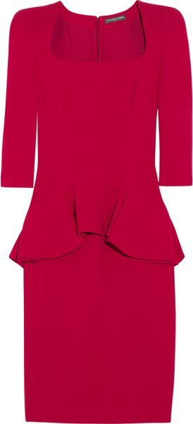 Alexander Mcqueen Woolcrepe Peplum Dress in Pink (cherry) - Lyst