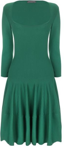 Alexander Mcqueen Square Neck Circle Dress in Green - Lyst