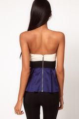 Asos Collection Asos Corset Top with Peplum and Bow in Blue (multi) - Lyst