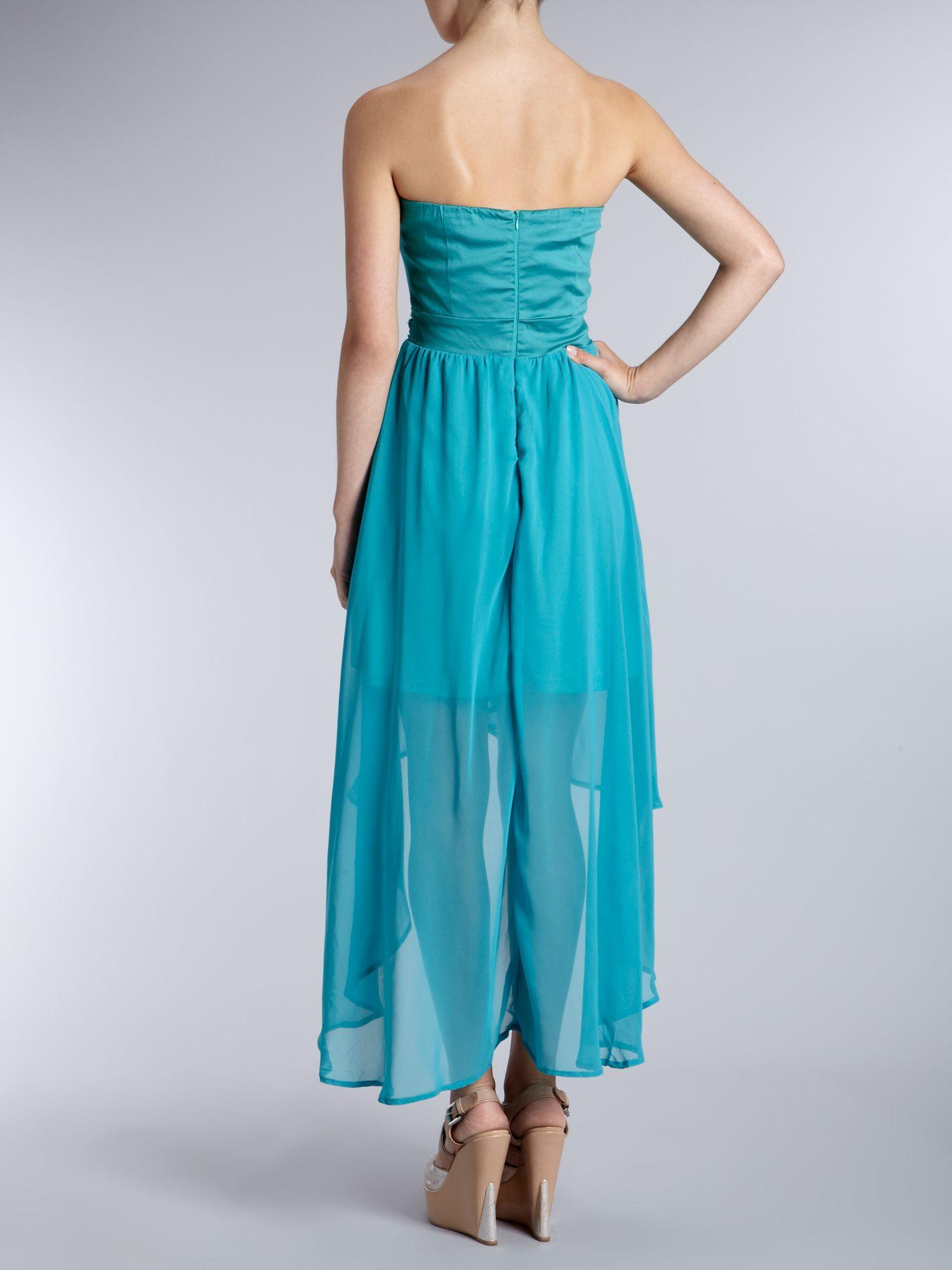 Ax Paris Ax Paris Jewel Drop Back Chiffon Dress in Blue - Lyst