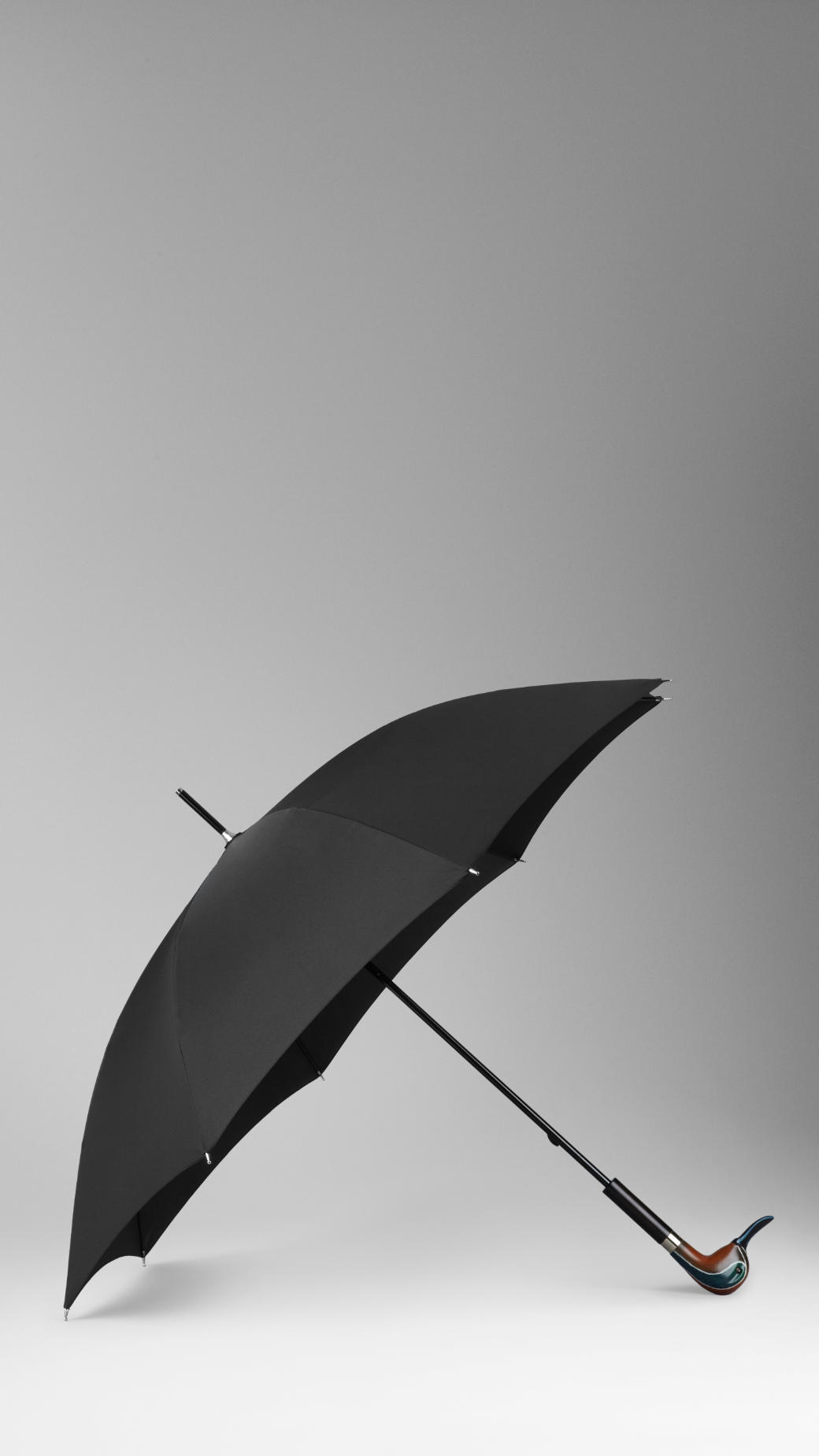 Burberry Duck Handle Walking Umbrella In Black Lyst