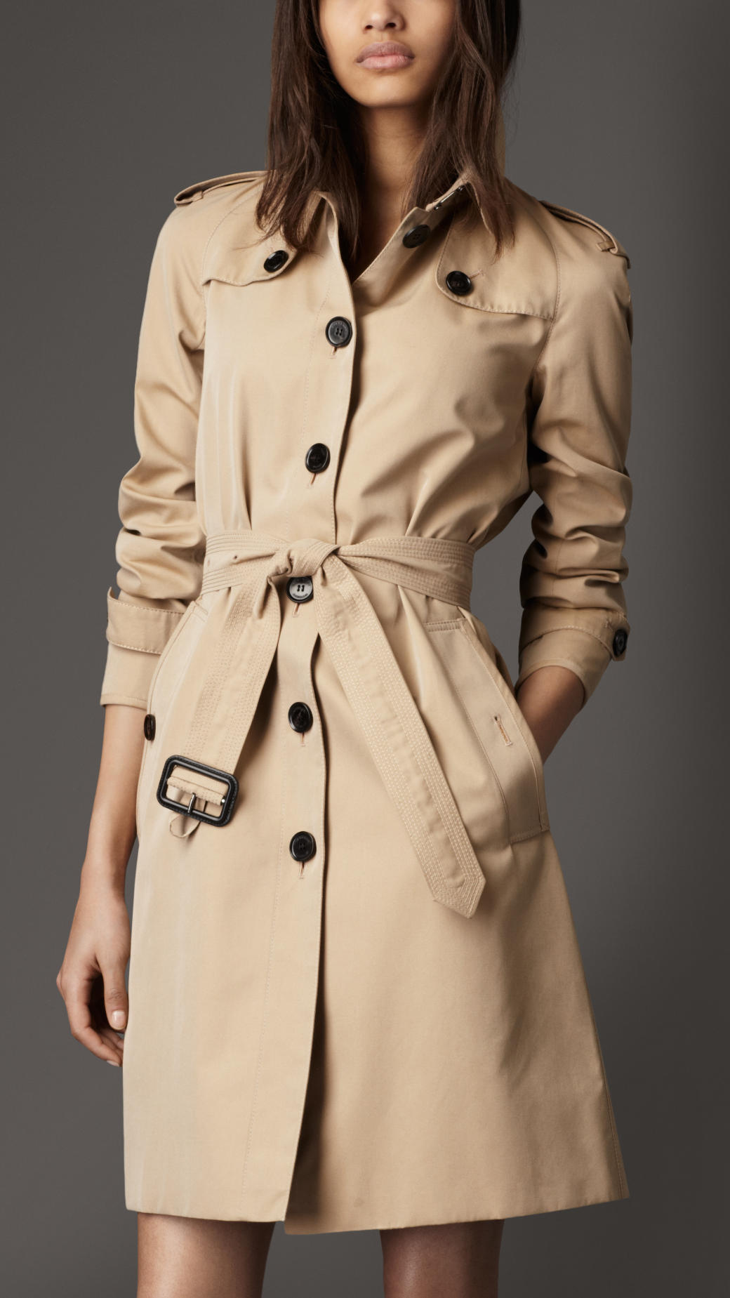 lyst burberry long cotton gabardine trench coat in natural. Black Bedroom Furniture Sets. Home Design Ideas