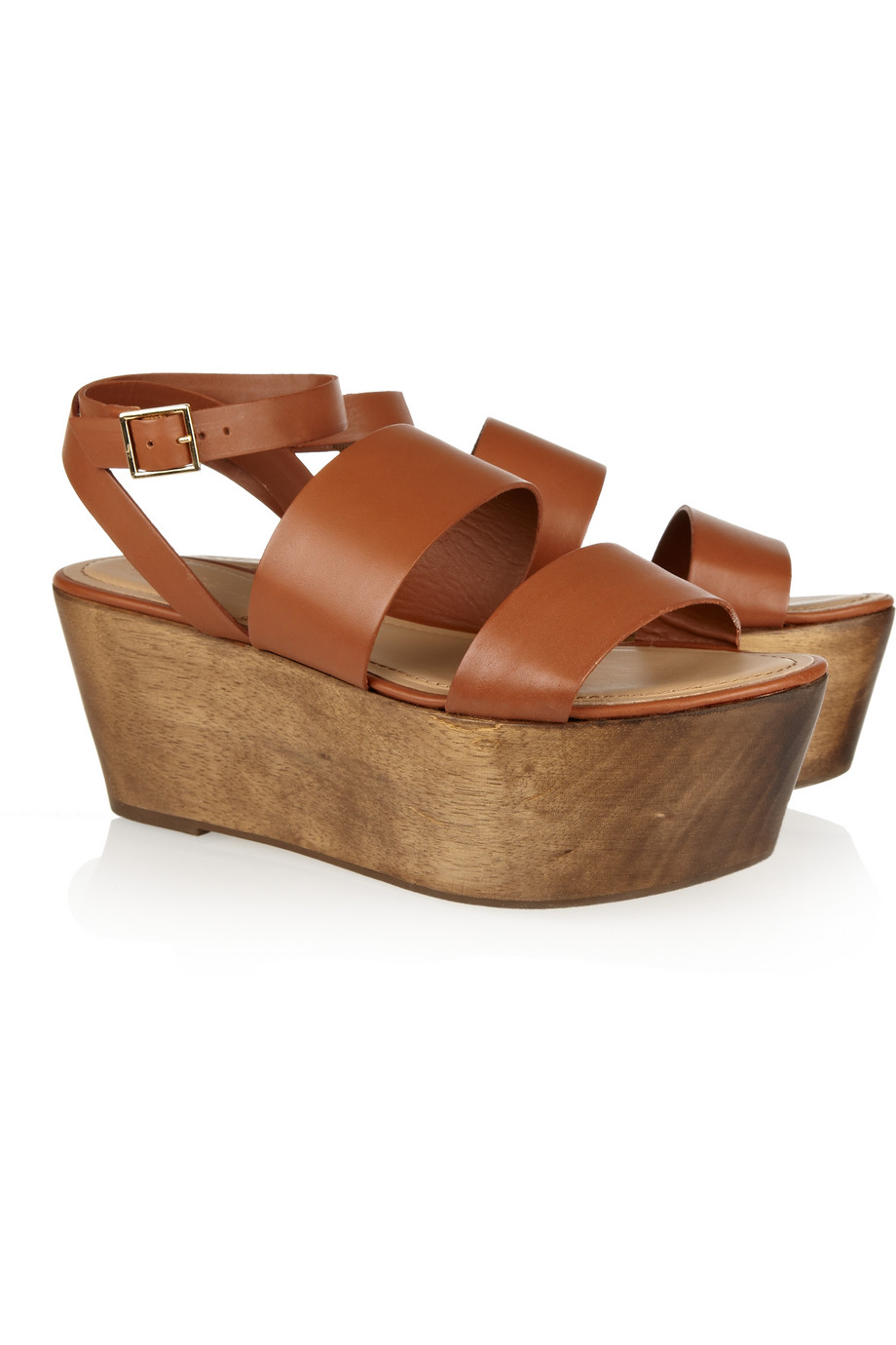 873e70904 Lyst - Elizabeth and James Bax Leather and Wood Platform Sandals in Brown