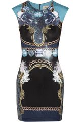 Emma Cook Jade Printed Satin-jersey Mini Dress - Lyst
