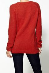 Enza Costa Angora Panel Crew Sweater - Lyst