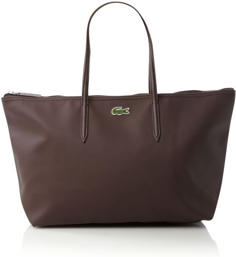 Lacoste Pique Large Tote Bag in Brown - Lyst